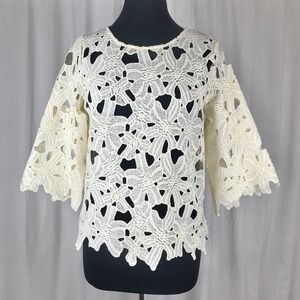 Sugarlips Ivory Floral Lace Blouse Size Small